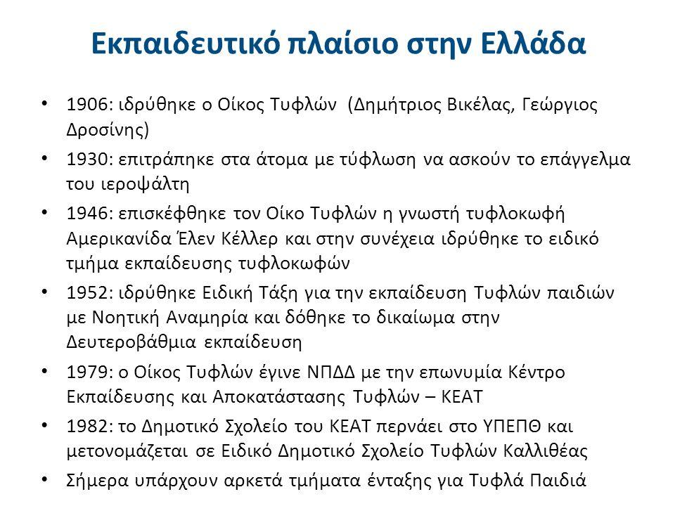 Εκπαιδευτικό πλαίσιο στην Ελλάδα 1906: ιδρύθηκε ο Οίκος Τυφλών (Δημήτριος Βικέλας, Γεώργιος Δροσίνης) 1930: επιτράπηκε στα άτομα με τύφλωση να ασκούν το επάγγελμα του ιεροψάλτη 1946: επισκέφθηκε τον Οίκο Τυφλών η γνωστή τυφλoκωφή Αμερικανίδα Έλεν Κέλλερ και στην συνέχεια ιδρύθηκε το ειδικό τμήμα εκπαίδευσης τυφλοκωφών 1952: ιδρύθηκε Ειδική Τάξη για την εκπαίδευση Τυφλών παιδιών με Νοητική Αναμηρία και δόθηκε το δικαίωμα στην Δευτεροβάθμια εκπαίδευση 1979: ο Οίκος Τυφλών έγινε ΝΠΔΔ με την επωνυμία Κέντρο Εκπαίδευσης και Αποκατάστασης Τυφλών – ΚΕΑΤ 1982: το Δημοτικό Σχολείο του ΚΕΑΤ περνάει στο ΥΠΕΠΘ και μετονομάζεται σε Ειδικό Δημοτικό Σχολείο Τυφλών Καλλιθέας Σήμερα υπάρχουν αρκετά τμήματα ένταξης για Τυφλά Παιδιά