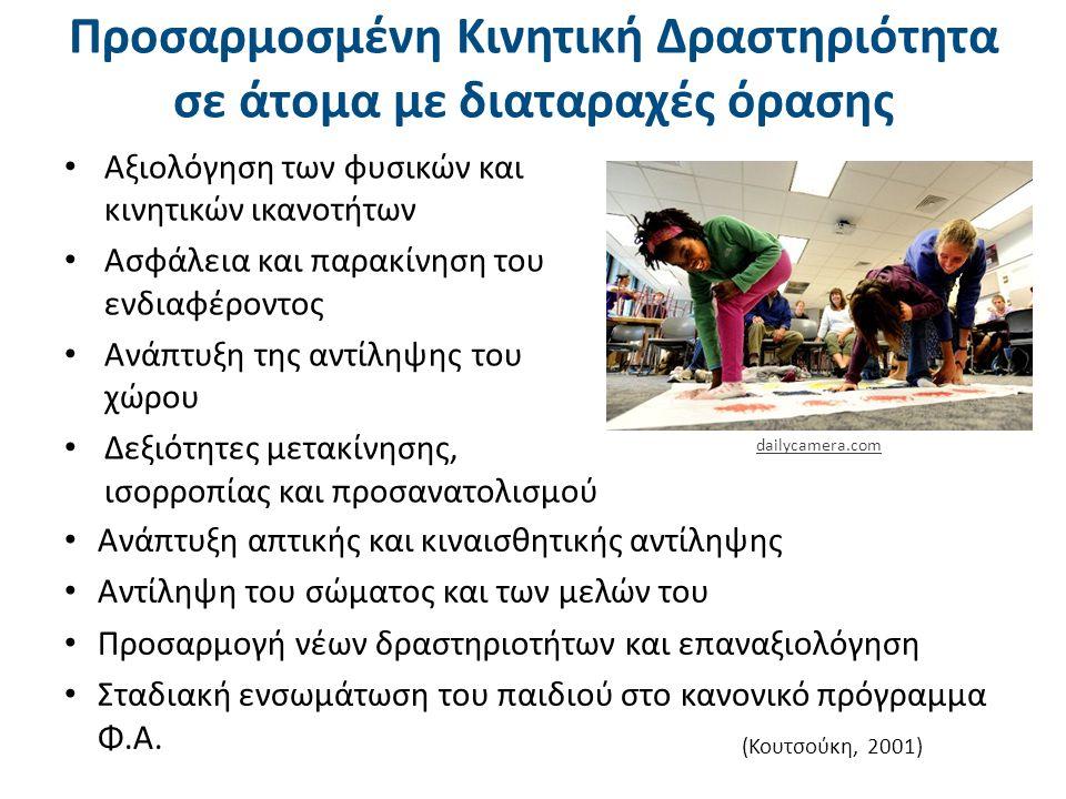 Προσαρμοσμένη Κινητική Δραστηριότητα σε άτομα με διαταραχές όρασης Αξιολόγηση των φυσικών και κινητικών ικανοτήτων Ασφάλεια και παρακίνηση του ενδιαφέροντος Ανάπτυξη της αντίληψης του χώρου Δεξιότητες μετακίνησης, ισορροπίας και προσανατολισμού (Κουτσούκη, 2001) Ανάπτυξη απτικής και κιναισθητικής αντίληψης Αντίληψη του σώματος και των μελών του Προσαρμογή νέων δραστηριοτήτων και επαναξιολόγηση Σταδιακή ενσωμάτωση του παιδιού στο κανονικό πρόγραμμα Φ.Α.