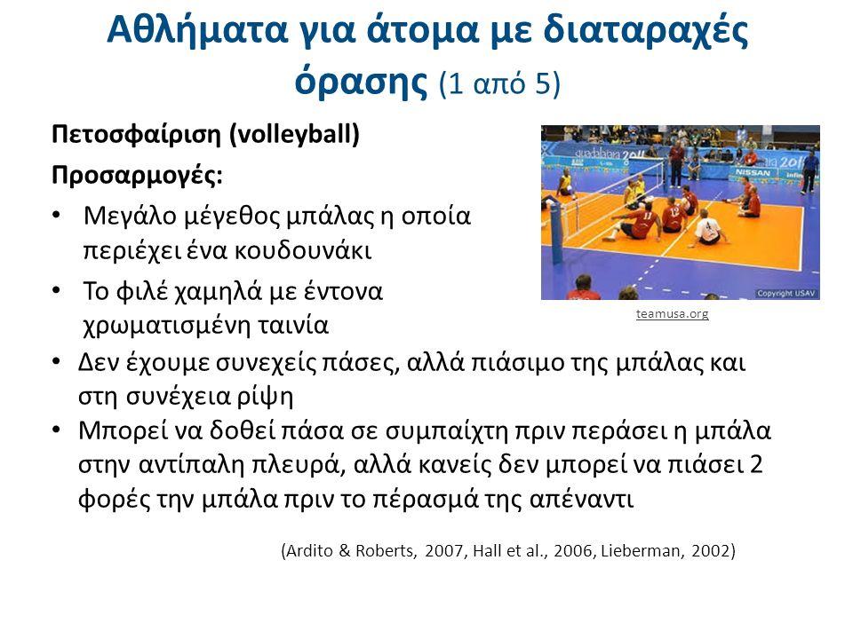Αθλήματα για άτομα με διαταραχές όρασης (1 από 5) Πετοσφαίριση (volleyball) Προσαρμογές: Μεγάλο μέγεθος μπάλας η οποία περιέχει ένα κουδουνάκι Το φιλέ χαμηλά με έντονα χρωματισμένη ταινία (Ardito & Roberts, 2007, Hall et al., 2006, Lieberman, 2002) Δεν έχουμε συνεχείς πάσες, αλλά πιάσιμο της μπάλας και στη συνέχεια ρίψη Μπορεί να δοθεί πάσα σε συμπαίχτη πριν περάσει η μπάλα στην αντίπαλη πλευρά, αλλά κανείς δεν μπορεί να πιάσει 2 φορές την μπάλα πριν το πέρασμά της απέναντι teamusa.org
