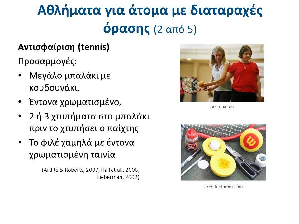Αθλήματα για άτομα με διαταραχές όρασης (2 από 5) Αντισφαίριση (tennis) Προσαρμογές: Μεγάλο μπαλάκι με κουδουνάκι, Έντονα χρωματισμένο, 2 ή 3 χτυπήματα στο μπαλάκι πριν το χτυπήσει ο παίχτης Το φιλέ χαμηλά με έντονα χρωματισμένη ταινία (Ardito & Roberts, 2007, Hall et al., 2006, Lieberman, 2002) boston.com architectmom.com