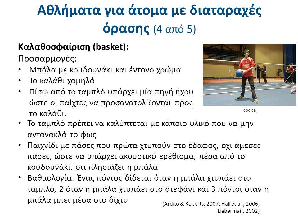 Αθλήματα για άτομα με διαταραχές όρασης (4 από 5) Καλαθοσφαίριση (basket): Προσαρμογές: Μπάλα με κουδουνάκι και έντονο χρώμα Το καλάθι χαμηλά Πίσω από το ταμπλό υπάρχει μία πηγή ήχου ώστε οι παίχτες να προσανατολίζονται προς το καλάθι.