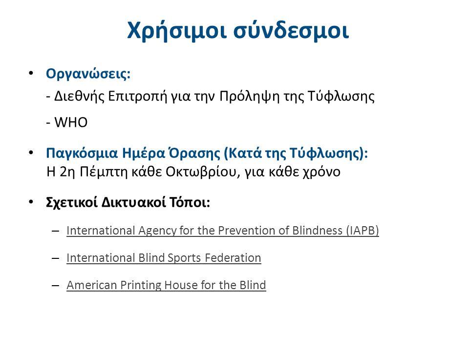 Χρήσιμοι σύνδεσμοι Οργανώσεις: - Διεθνής Επιτροπή για την Πρόληψη της Τύφλωσης - WHO Παγκόσμια Ημέρα Όρασης (Κατά της Τύφλωσης): H 2η Πέμπτη κάθε Οκτωβρίου, για κάθε χρόνο Σχετικοί Δικτυακοί Τόποι: – International Agency for the Prevention of Blindness (IAPB) International Agency for the Prevention of Blindness (IAPB) – International Blind Sports Federation International Blind Sports Federation – American Printing House for the Blind American Printing House for the Blind