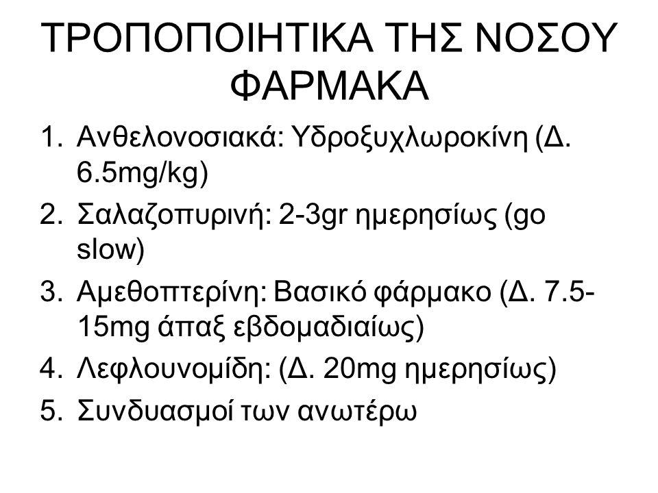 ΝΕΩΤΕΡΕΣ ΘΕΡΑΠΕΙΕΣ ΣΤΗΝ ΡΕΥΜΑΤΟΕΙΔΗ ΑΡΘΡΙΤΙΔΑ ΒΙΟΛΟΓΙΚΕΣ ΘΕΡΑΠΕΙΕΣ 1.Αντι-TNF-α παράγοντες (ινφλιξιμάμπη, ετανερσέπτη, ανταλιμουμάμπη, γκολιμουμάμπη) 2.Αντι-CD20 μονοκλωνικό αντίσωμα 3.Αντίσωμα έναντι ιντερλευκίνης 6 (Αντι-IL-6)