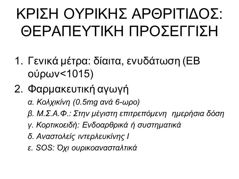 ΟΥΡΙΚΟΑΝΑΣΤΑΛΤΙΚΑ ΦΑΡΜΑΚΑ 1.Αλλοπουρινόλη: ενδείξεις – προφυλάξεις 2.Φεμπουξοστάτη: Πλεονεκτήματα 3.Πρόληψη υποτροπών: Κολχικίνη και ουρικοανασταλτικό