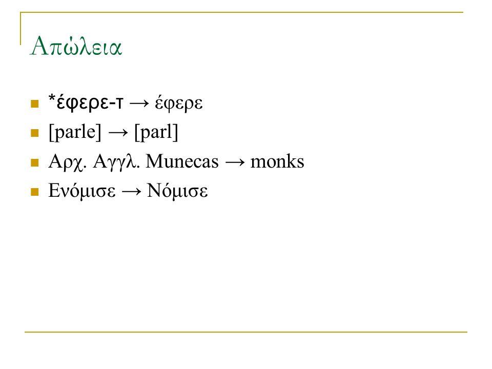 Απώλεια *έφερε-τ → έφερε [parle] → [parl] Αρχ. Αγγλ. Munecas → monks Ενόμισε → Νόμισε