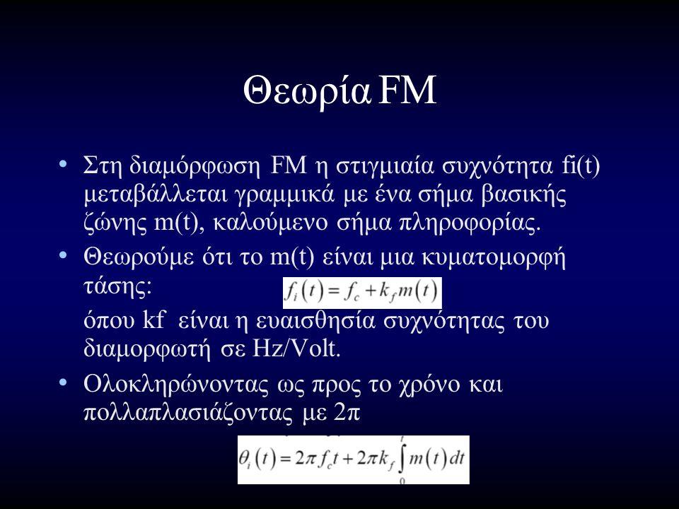 ΘεωρίαFM Στη διαμόρφωση FM η στιγμιαία συχνότητα fi(t) μεταβάλλεται γραμμικά με ένα σήμα βασικής ζώνης m(t), καλούμενο σήμα πληροφορίας.