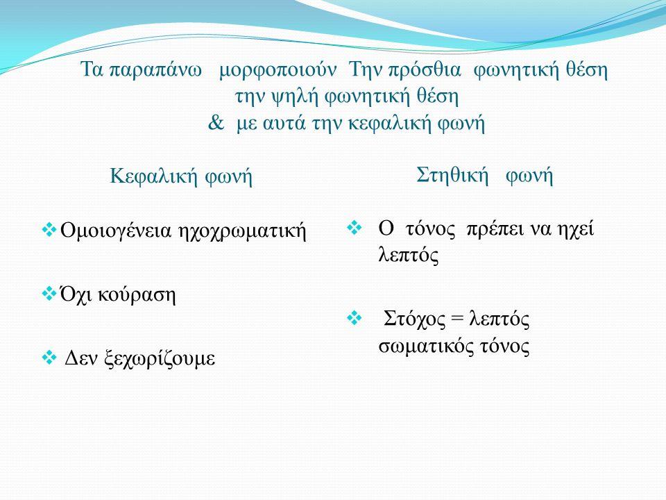Τα παραπάνω μορφοποιούν Την πρόσθια φωνητική θέση την ψηλή φωνητική θέση & με αυτά την κεφαλική φωνή Κεφαλική φωνή Στηθική φωνή  Ομοιογένεια ηχοχρωματική  Όχι κούραση  Δεν ξεχωρίζουμε  Ο τόνος πρέπει να ηχεί λεπτός  Στόχος = λεπτός σωματικός τόνος