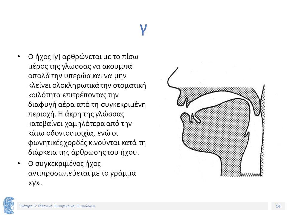 14 Ενότητα 3: Ελληνική Φωνητική και Φωνολογία γ Ο ήχος [γ] αρθρώνεται με το πίσω μέρος της γλώσσας να ακουμπά απαλά την υπερώα και να μην κλείνει ολοκληρωτικά την στοματική κοιλότητα επιτρέποντας την διαφυγή αέρα από τη συγκεκριμένη περιοχή.