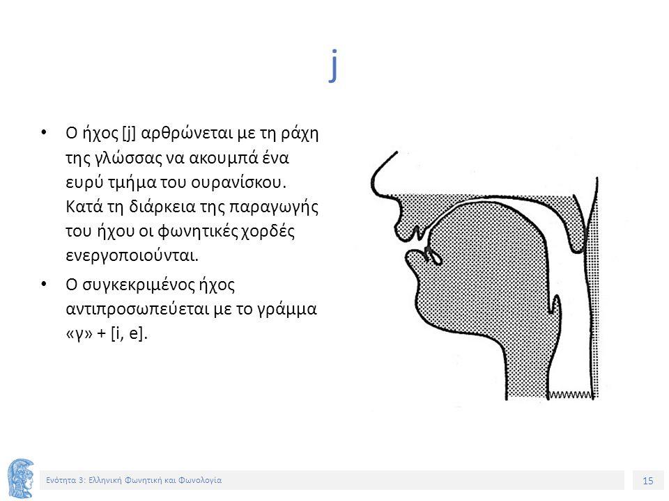 15 Ενότητα 3: Ελληνική Φωνητική και Φωνολογία j Ο ήχος [j] αρθρώνεται με τη ράχη της γλώσσας να ακουμπά ένα ευρύ τμήμα του ουρανίσκου. Κατά τη διάρκει