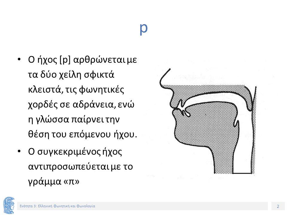 2 Ενότητα 3: Ελληνική Φωνητική και Φωνολογία p Ο ήχος [p] αρθρώνεται με τα δύο χείλη σφικτά κλειστά, τις φωνητικές χορδές σε αδράνεια, ενώ η γλώσσα παίρνει την θέση του επόμενου ήχου.
