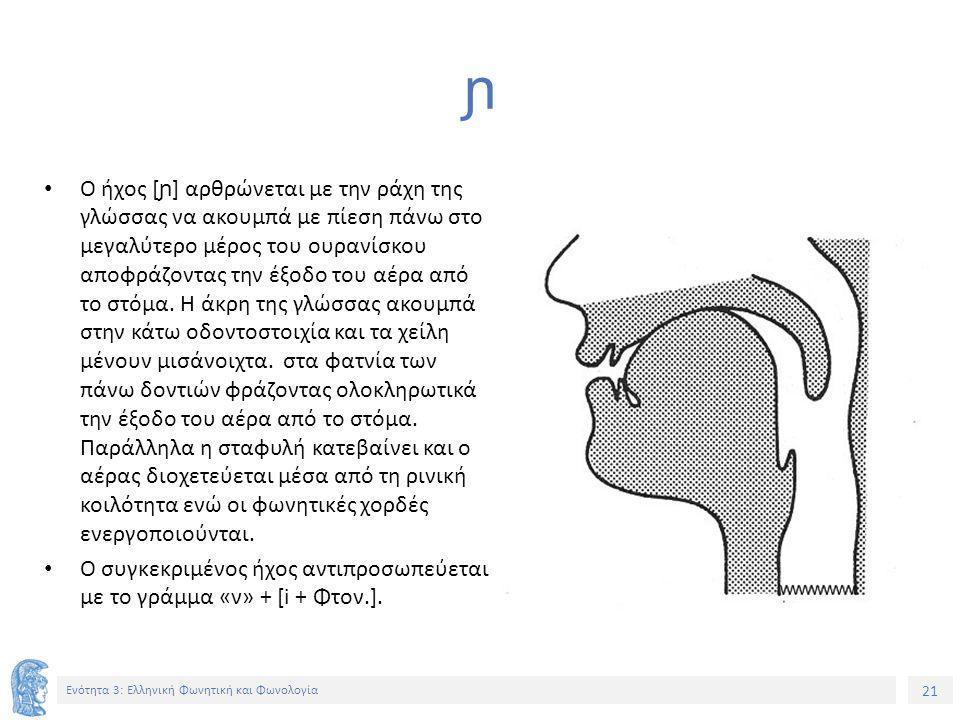 21 Ενότητα 3: Ελληνική Φωνητική και Φωνολογία ɲ Ο ήχος [ ɲ ] αρθρώνεται με την ράχη της γλώσσας να ακουμπά με πίεση πάνω στο μεγαλύτερο μέρος του ουρανίσκου αποφράζοντας την έξοδο του αέρα από το στόμα.
