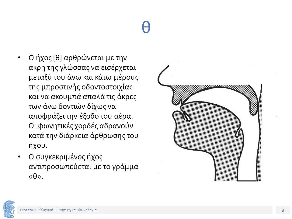 8 Ενότητα 3: Ελληνική Φωνητική και Φωνολογία θ Ο ήχος [θ] αρθρώνεται με την άκρη της γλώσσας να εισέρχεται μεταξύ του άνω και κάτω μέρους της μπροστιν
