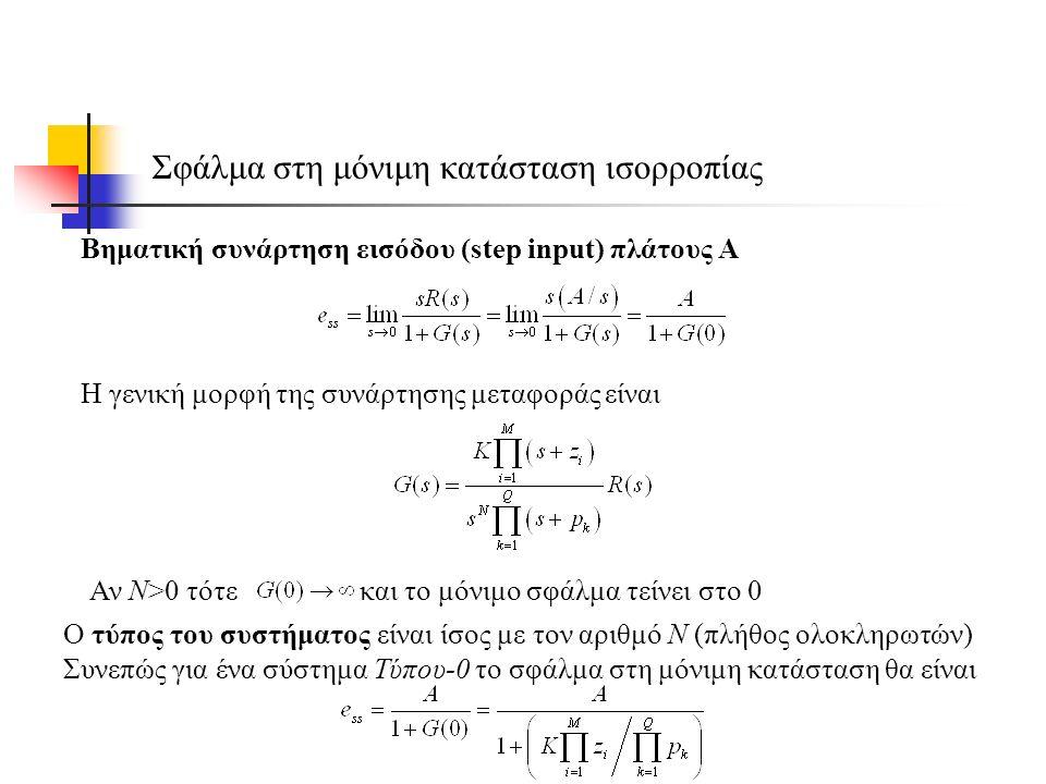 Σφάλμα στη μόνιμη κατάσταση ισορροπίας Βηματική συνάρτηση εισόδου (step input) πλάτους Α Αν Ν>0 τότε και το μόνιμο σφάλμα τείνει στο 0 Ο τύπος του συστήματος είναι ίσος με τον αριθμό Ν (πλήθος ολοκληρωτών) Συνεπώς για ένα σύστημα Τύπου-0 το σφάλμα στη μόνιμη κατάσταση θα είναι Η γενική μορφή της συνάρτησης μεταφοράς είναι