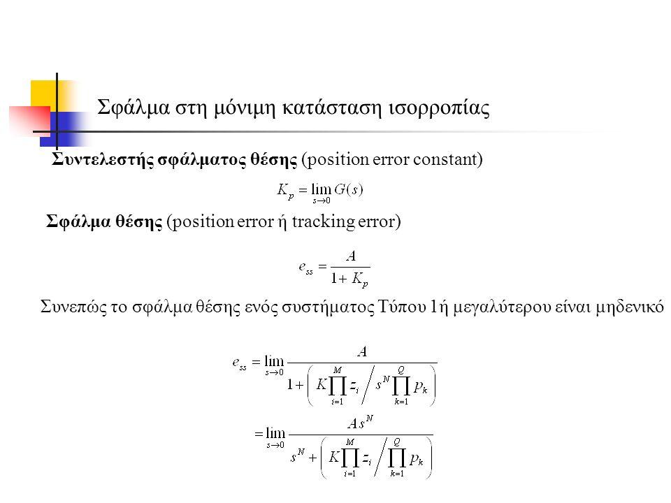 Σφάλμα στη μόνιμη κατάσταση ισορροπίας Συντελεστής σφάλματος θέσης (position error constant) Συνεπώς το σφάλμα θέσης ενός συστήματος Τύπου 1ή μεγαλύτερου είναι μηδενικό Σφάλμα θέσης (position error ή tracking error)