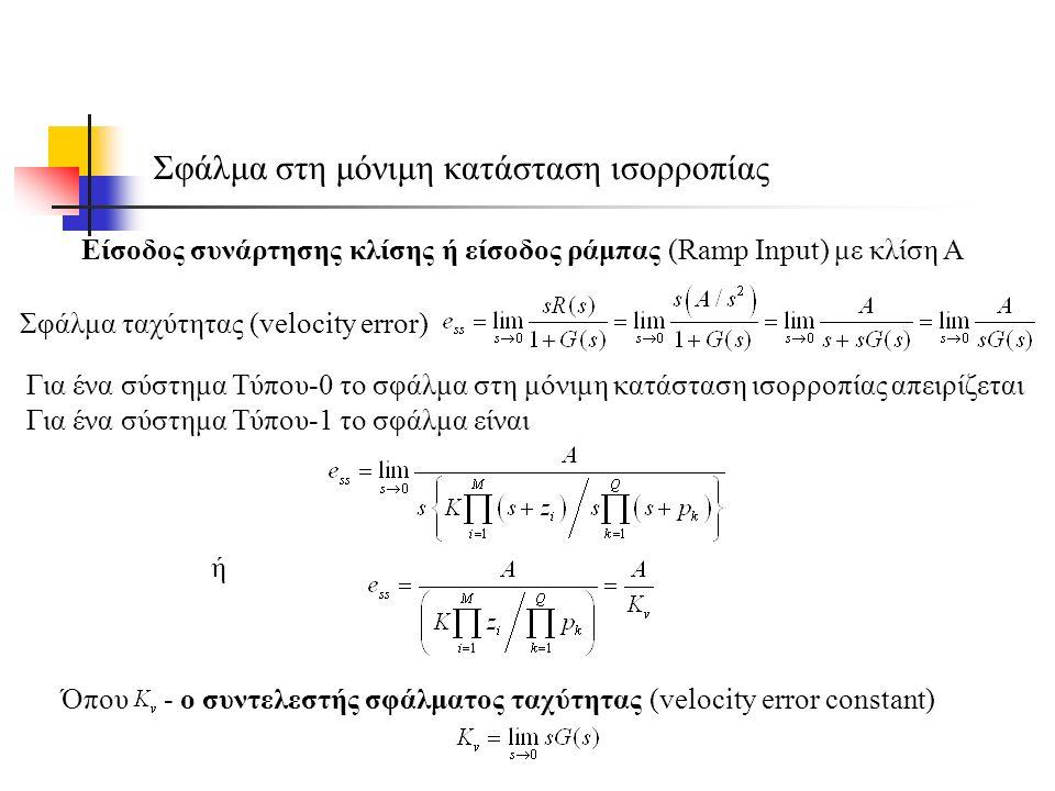 Σφάλμα στη μόνιμη κατάσταση ισορροπίας Είσοδος συνάρτησης κλίσης ή είσοδος ράμπας (Ramp Input) με κλίση Α ή Όπου - ο συντελεστής σφάλματος ταχύτητας (velocity error constant) Για ένα σύστημα Τύπου-0 το σφάλμα στη μόνιμη κατάσταση ισορροπίας απειρίζεται Για ένα σύστημα Τύπου-1 το σφάλμα είναι Σφάλμα ταχύτητας (velocity error)