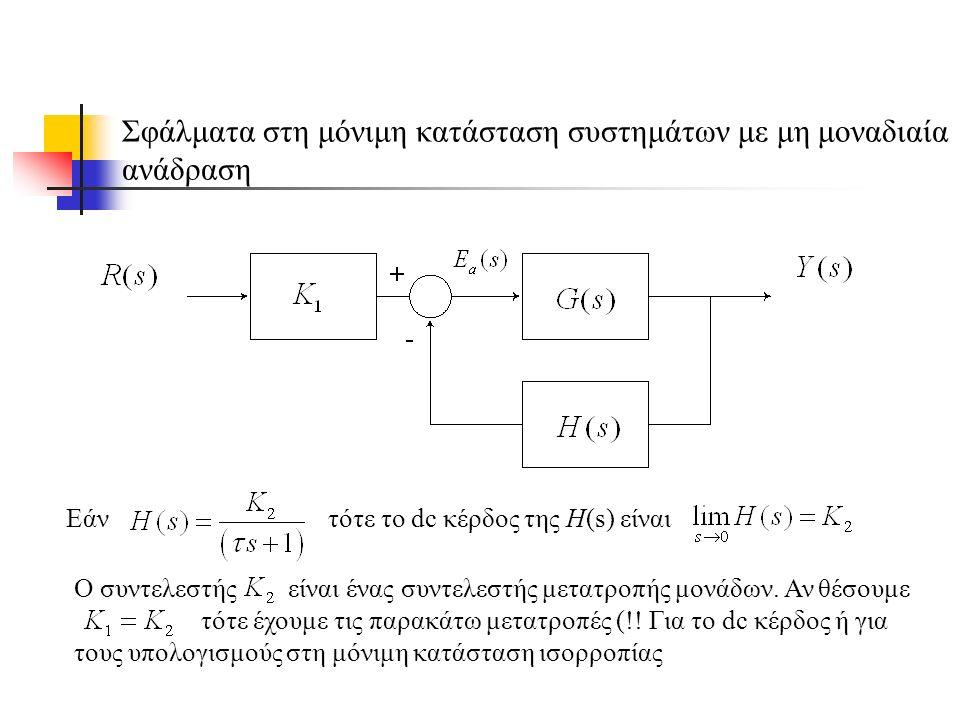 Σφάλματα στη μόνιμη κατάσταση συστημάτων με μη μοναδιαία ανάδραση Εάν τότε το dc κέρδος της H(s) είναι Ο συντελεστής είναι ένας συντελεστής μετατροπής μονάδων.