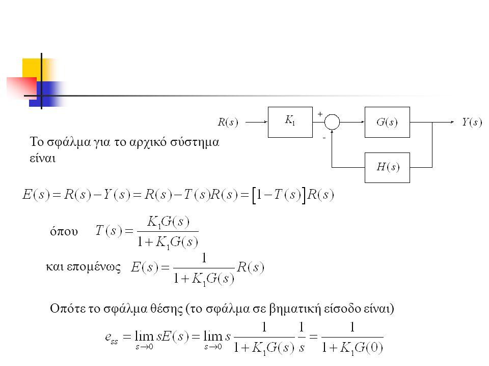 Το σφάλμα για το αρχικό σύστημα είναι όπου και επομένως Οπότε το σφάλμα θέσης (το σφάλμα σε βηματική είσοδο είναι)