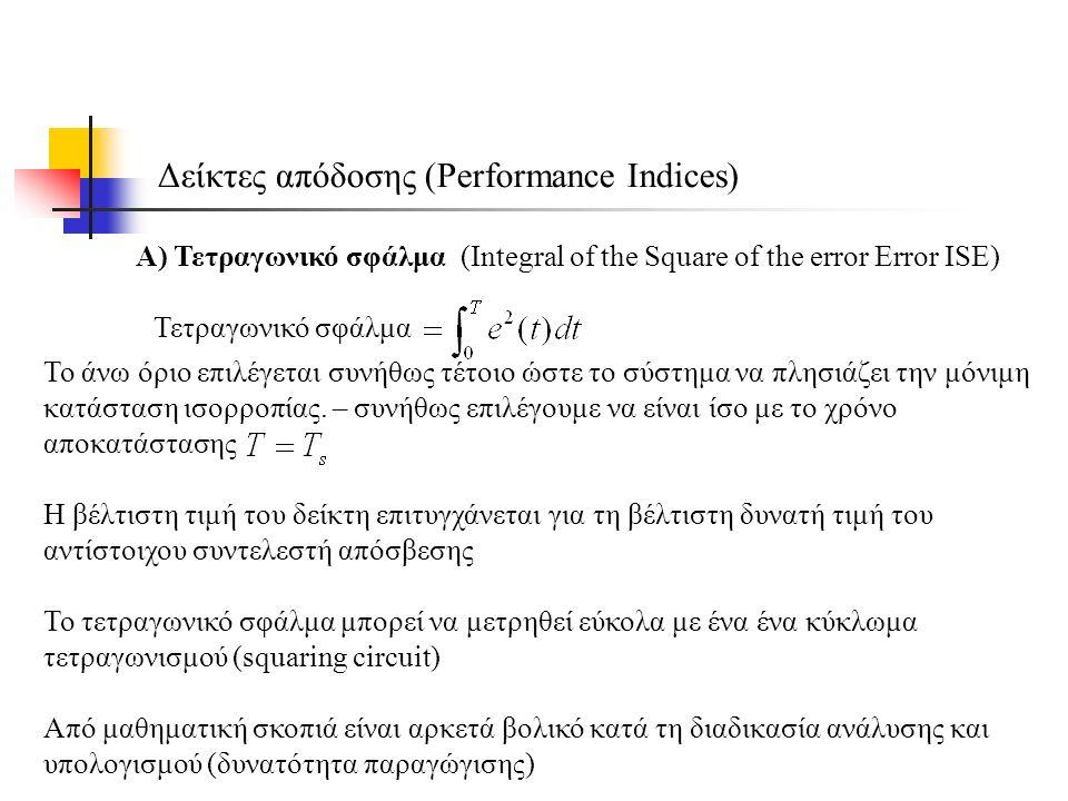 Δείκτες απόδοσης (Performance Indices) Α) Τετραγωνικό σφάλμα (Integral of the Square of the error Error ISE) Τετραγωνικό σφάλμα Το άνω όριο επιλέγεται συνήθως τέτοιο ώστε το σύστημα να πλησιάζει την μόνιμη κατάσταση ισορροπίας.