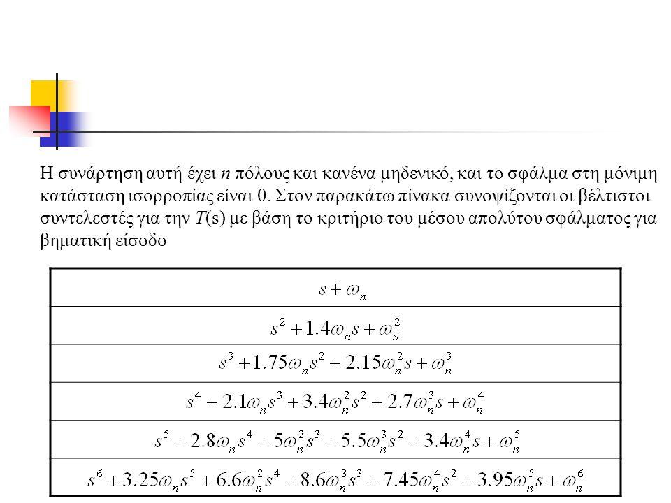 Η συνάρτηση αυτή έχει n πόλους και κανένα μηδενικό, και το σφάλμα στη μόνιμη κατάσταση ισορροπίας είναι 0.