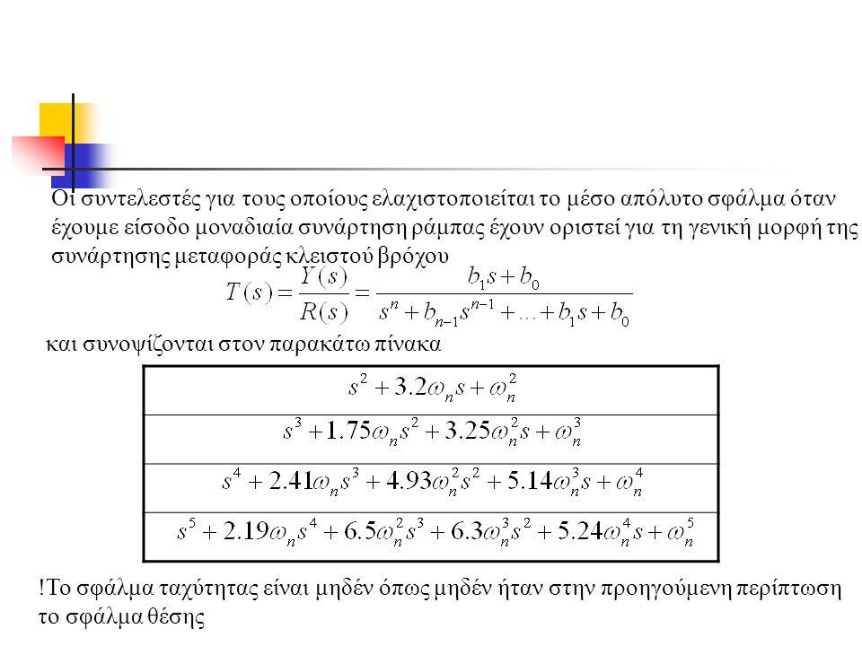 Οι συντελεστές για τους οποίους ελαχιστοποιείται το μέσο απόλυτο σφάλμα όταν έχουμε είσοδο μοναδιαία συνάρτηση ράμπας έχουν οριστεί για τη γενική μορφή της συνάρτησης μεταφοράς κλειστού βρόχου και συνοψίζονται στον παρακάτω πίνακα !Το σφάλμα ταχύτητας είναι μηδέν όπως μηδέν ήταν στην προηγούμενη περίπτωση το σφάλμα θέσης