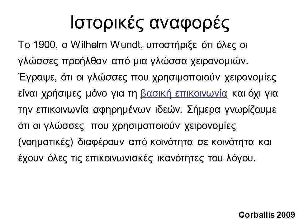 Ιστορικές αναφορές Το 1900, ο Wilhelm Wundt, υποστήριξε ότι όλες οι γλώσσες προήλθαν από μια γλώσσα χειρονομιών.