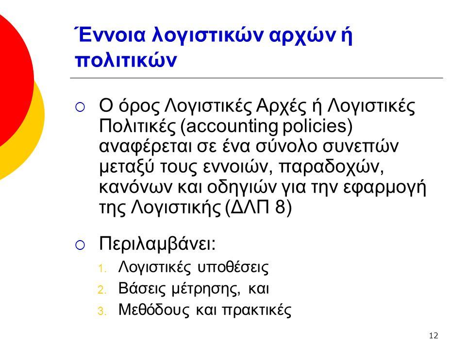 12 Έννοια λογιστικών αρχών ή πολιτικών  Ο όρος Λογιστικές Αρχές ή Λογιστικές Πολιτικές (accounting policies) αναφέρεται σε ένα σύνολο συνεπών μεταξύ τους εννοιών, παραδοχών, κανόνων και οδηγιών για την εφαρμογή της Λογιστικής (ΔΛΠ 8)  Περιλαμβάνει: 1.