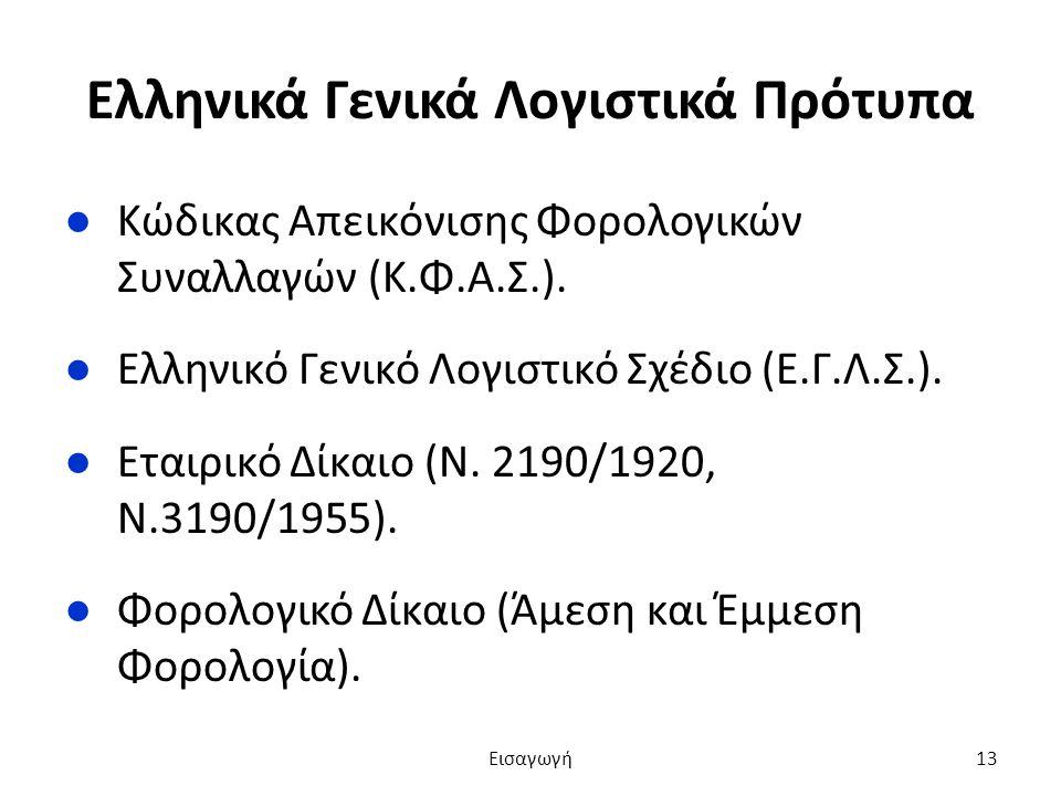Ελληνικά Γενικά Λογιστικά Πρότυπα ●Κώδικας Απεικόνισης Φορολογικών Συναλλαγών (Κ.Φ.Α.Σ.).