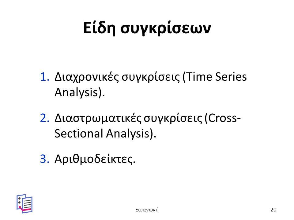 Είδη συγκρίσεων 1.Διαχρονικές συγκρίσεις (Time Series Analysis).