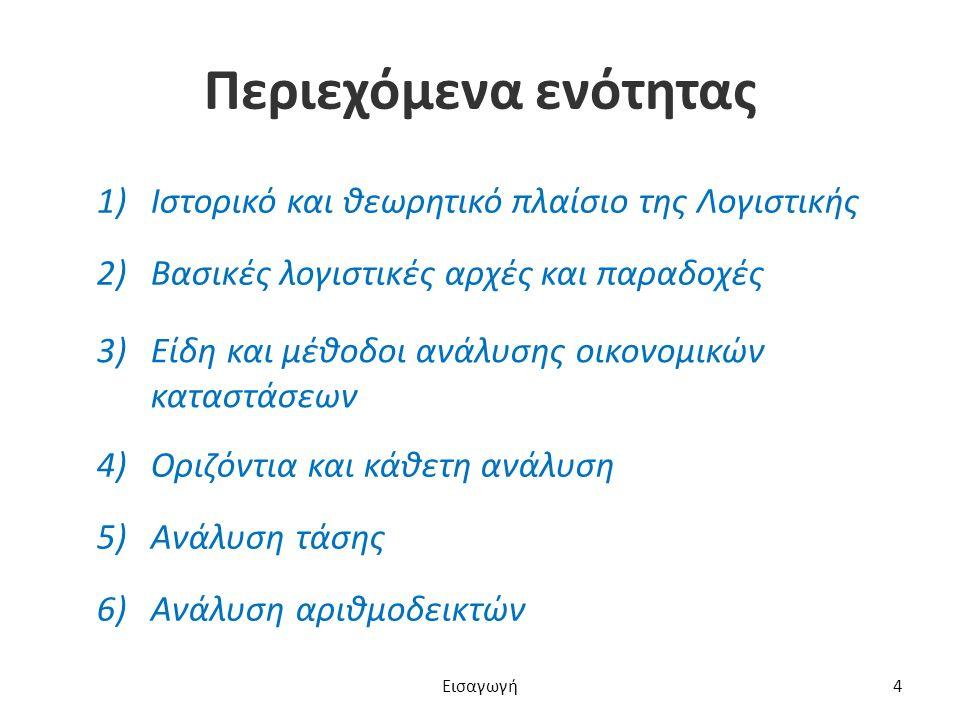 Περιεχόμενα ενότητας 1)Ιστορικό και θεωρητικό πλαίσιο της ΛογιστικήςΙστορικό και θεωρητικό πλαίσιο της Λογιστικής 2)Βασικές λογιστικές αρχές και παραδοχέςΒασικές λογιστικές αρχές και παραδοχές 3)Είδη και μέθοδοι ανάλυσης οικονομικών καταστάσεωνΕίδη και μέθοδοι ανάλυσης οικονομικών καταστάσεων 4)Οριζόντια και κάθετη ανάλυσηΟριζόντια και κάθετη ανάλυση 5)Ανάλυση τάσηςΑνάλυση τάσης 6)Ανάλυση αριθμοδεικτώνΑνάλυση αριθμοδεικτών Εισαγωγή4