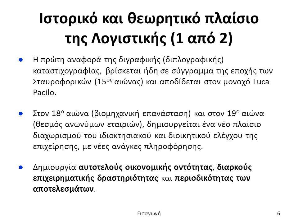 Ιστορικό και θεωρητικό πλαίσιο της Λογιστικής (1 από 2) ●Η πρώτη αναφορά της διγραφικής (διπλογραφικής) καταστιχογραφίας, βρίσκεται ήδη σε σύγγραμμα της εποχής των Σταυροφορικών (15 ος αιώνας) και αποδίδεται στον μοναχό Luca Pacilo.