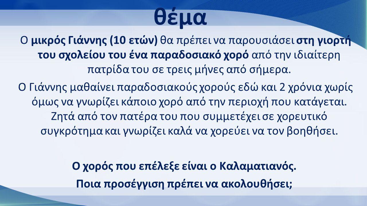 Χαρακτηριστικά του ασκούμενου Ηλικία: Ο Γιάννης είναι 10 ετών.
