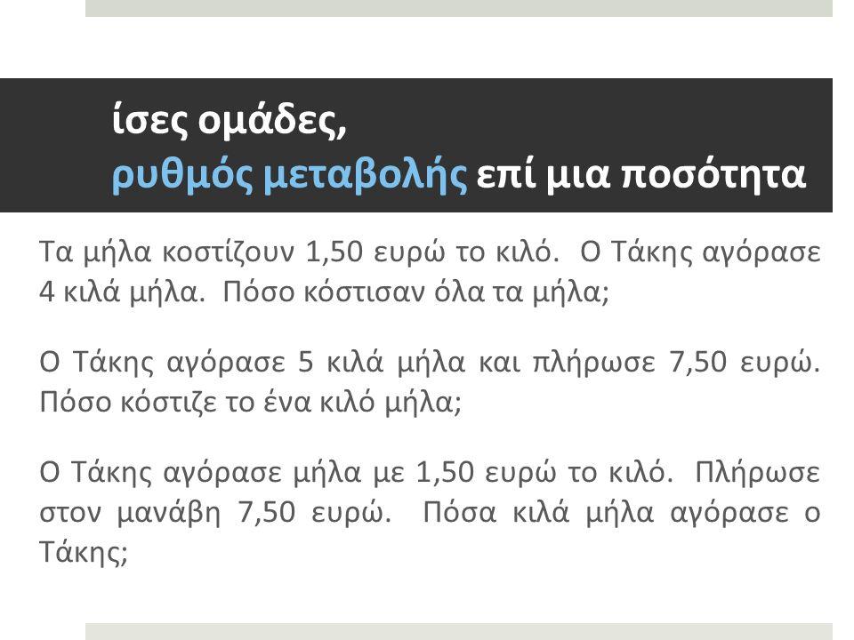 ίσες ομάδες, ρυθμός μεταβολής επί μια ποσότητα Τα μήλα κοστίζουν 1,50 ευρώ το κιλό.