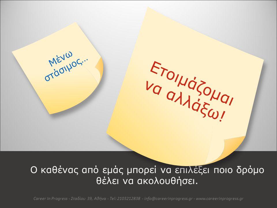 Αλλάζω σημαίνει… Auto Animated Version Career In Progress - Σταδίου 39, Αθήνα - Tel: 2103212838 - info@careerinprogress.gr - www.careerinprogress.gr Μιλώντας απλά: η διαδικασία που με οδηγεί από ένα σημείο Α σε ένα σημείο Β.