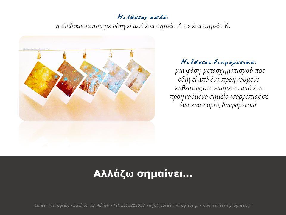 Αναγνωρίζω πως Αλλαγή σημαίνει Πρόκληση Career In Progress - Σταδίου 39, Αθήνα - Tel: 2103212838 - info@careerinprogress.gr - www.careerinprogress.gr Τα Στάδια στην Καμπύλη της Αλλαγής