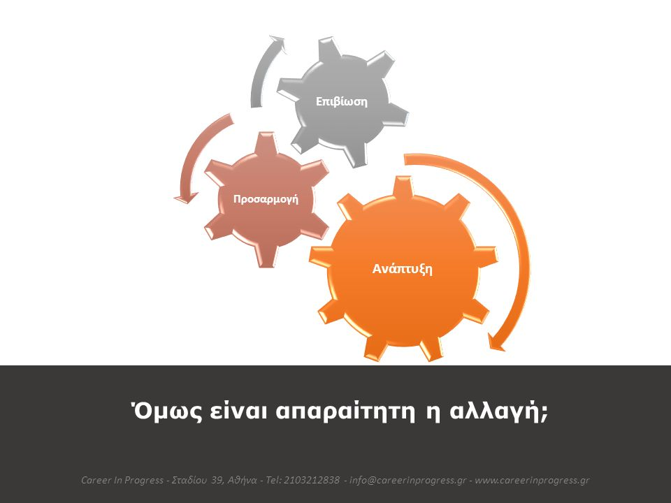 Όμως είναι απαραίτητη η αλλαγή; Career In Progress - Σταδίου 39, Αθήνα - Tel: 2103212838 - info@careerinprogress.gr - www.careerinprogress.gr Ανάπτυξη
