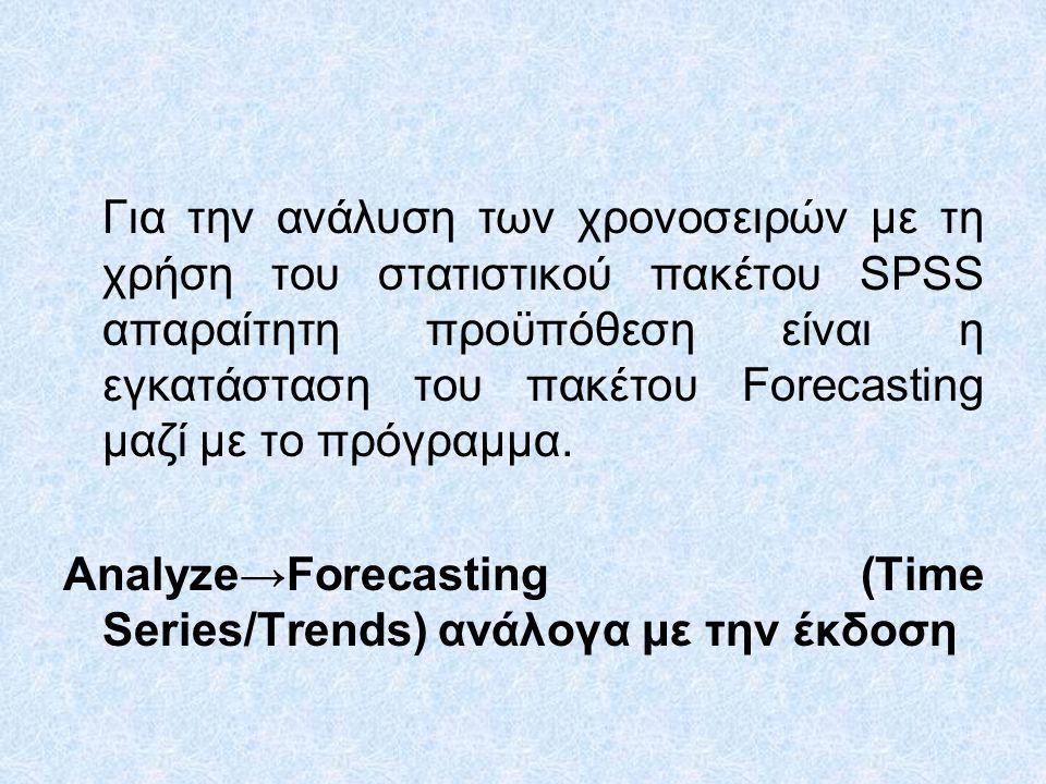 Για την ανάλυση των χρονοσειρών με τη χρήση του στατιστικού πακέτου SPSS απαραίτητη προϋπόθεση είναι η εγκατάσταση του πακέτου Forecasting μαζί με το πρόγραμμα.