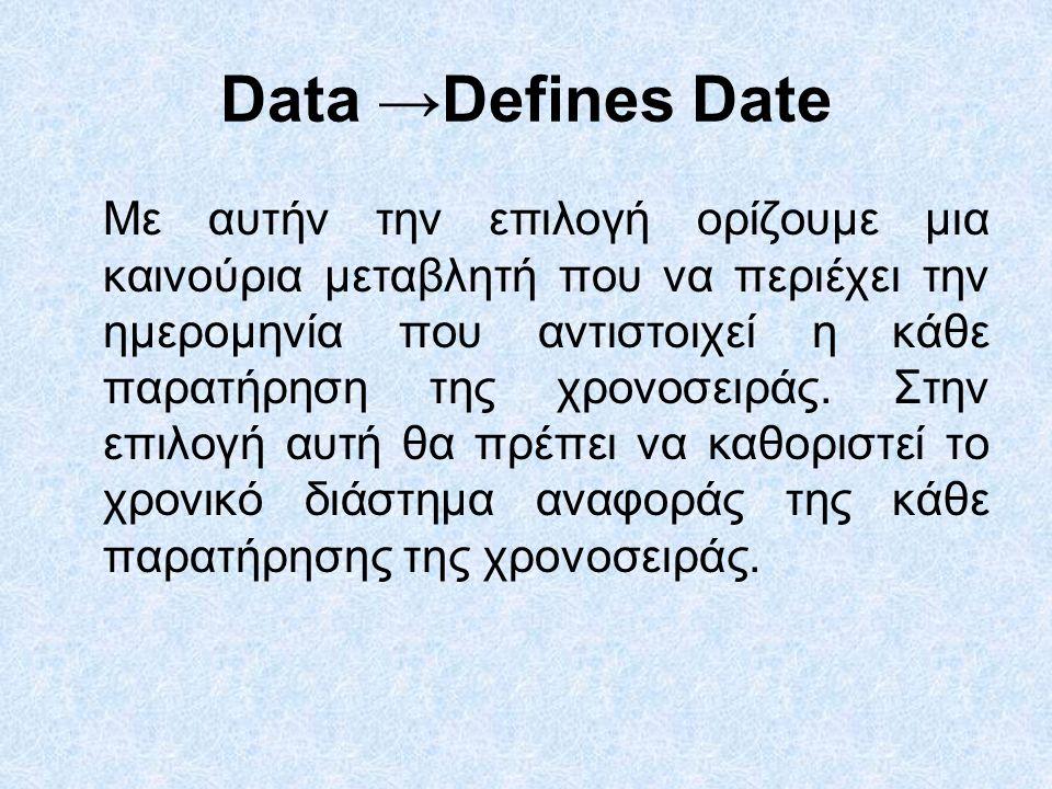 Data →Defines Date Με αυτήν την επιλογή ορίζουμε μια καινούρια μεταβλητή που να περιέχει την ημερομηνία που αντιστοιχεί η κάθε παρατήρηση της χρονοσειράς.