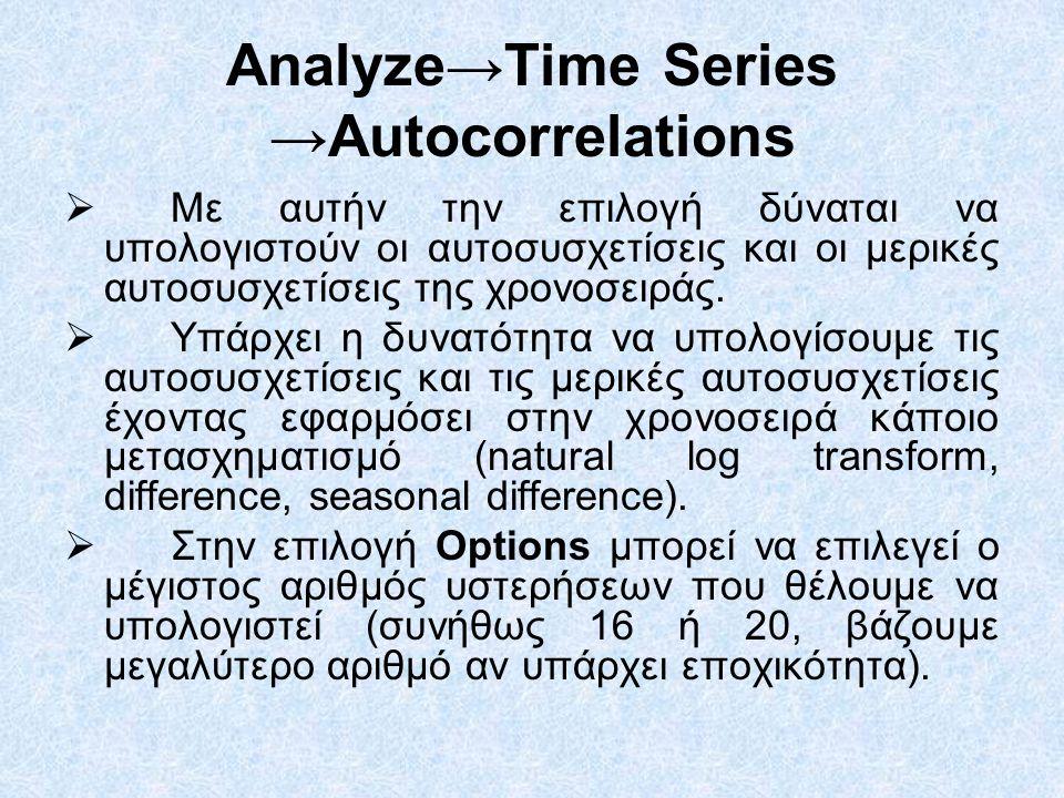 Analyze→Time Series →Autocorrelations  Με αυτήν την επιλογή δύναται να υπολογιστούν οι αυτοσυσχετίσεις και οι μερικές αυτοσυσχετίσεις της χρονοσειράς.