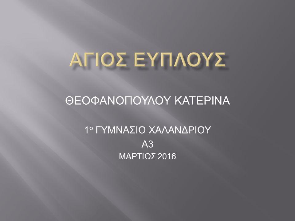 Η ανέγερση του μνημείου έγινε εις ανάμνηση του Αγίου Εύπλου της Αίνου της Ανατολικής Θράκης, που είναι η πατρίδα μεγάλου μέρους των σημερινών Αλεξανδρουπολιτών.