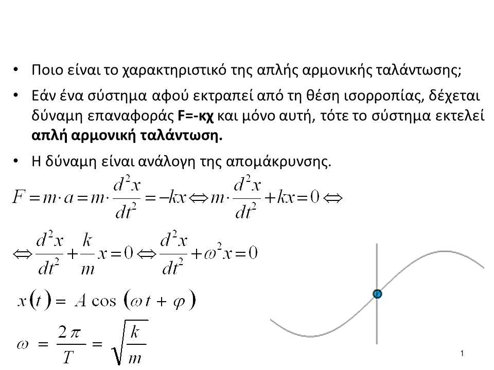 Ποιο είναι το χαρακτηριστικό της απλής αρμονικής ταλάντωσης; Εάν ένα σύστημα αφού εκτραπεί από τη θέση ισορροπίας, δέχεται δύναμη επαναφοράς F=-κχ και μόνο αυτή, τότε το σύστημα εκτελεί απλή αρμονική ταλάντωση.