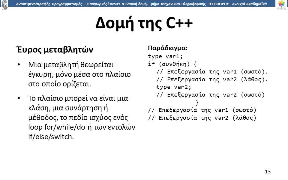 1313 Αντικειμενοστραφής Προγραμματισμός – Εισαγωγικές Έννοιες & Βασική δομή, Τμήμα Μηχανικών Πληροφορικής, ΤΕΙ ΗΠΕΙΡΟΥ - Ανοιχτά Ακαδημαϊκά Μαθήματα στο ΤΕΙ Ηπείρου Δομή της C++ Έυρος μεταβλητών Μια μεταβλητή θεωρείται έγκυρη, μόνο μέσα στο πλαίσιο στο οποίο ορίζεται.