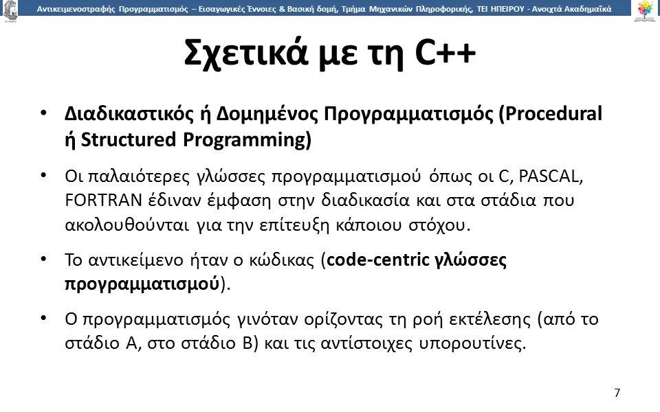 8 Αντικειμενοστραφής Προγραμματισμός – Εισαγωγικές Έννοιες & Βασική δομή, Τμήμα Μηχανικών Πληροφορικής, ΤΕΙ ΗΠΕΙΡΟΥ - Ανοιχτά Ακαδημαϊκά Μαθήματα στο ΤΕΙ Ηπείρου Σχετικά με τη C++ Αντικειμενοστραφής προγραμματισμός (Object-Oriented Programming) Οι αντικειμενοστραφείς γλώσσες προγραμματισμού (Java, Eiffel, Smalltalk και φυσικά C++) δίνουν έμφαση στα δεδομένα παρά στον κώδικα.