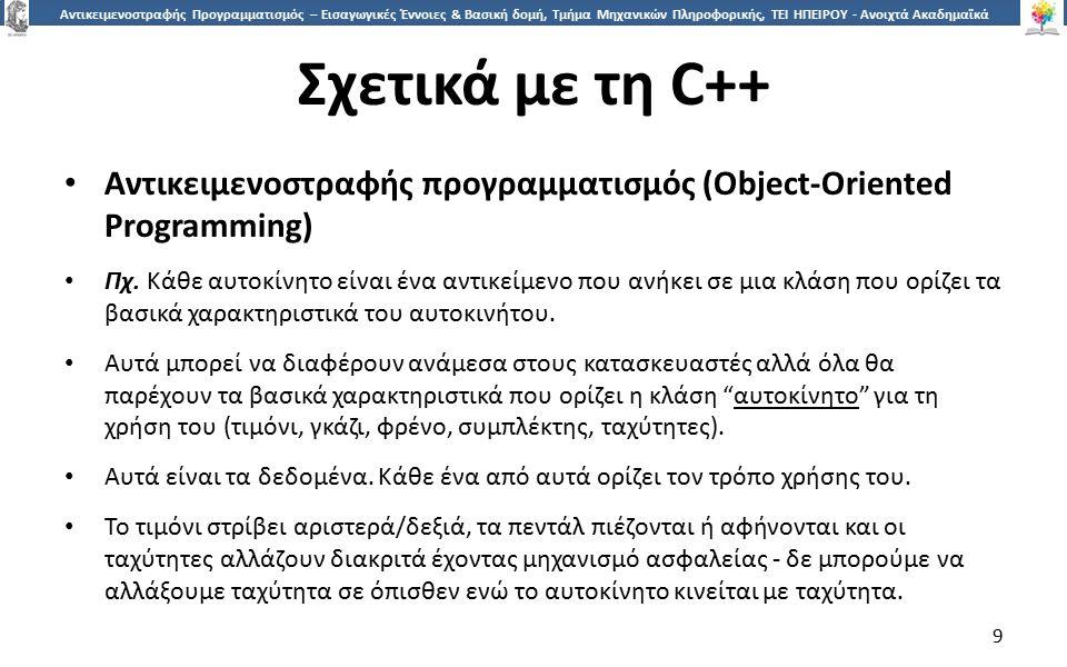 9 Αντικειμενοστραφής Προγραμματισμός – Εισαγωγικές Έννοιες & Βασική δομή, Τμήμα Μηχανικών Πληροφορικής, ΤΕΙ ΗΠΕΙΡΟΥ - Ανοιχτά Ακαδημαϊκά Μαθήματα στο ΤΕΙ Ηπείρου Σχετικά με τη C++ Αντικειμενοστραφής προγραμματισμός (Object-Oriented Programming) Πχ.