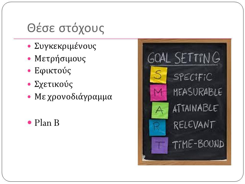 Θέσε στόχους Συγκεκριμένους Μετρήσιμους Εφικτούς Σχετικούς Με χρονοδιάγραμμα Plan B