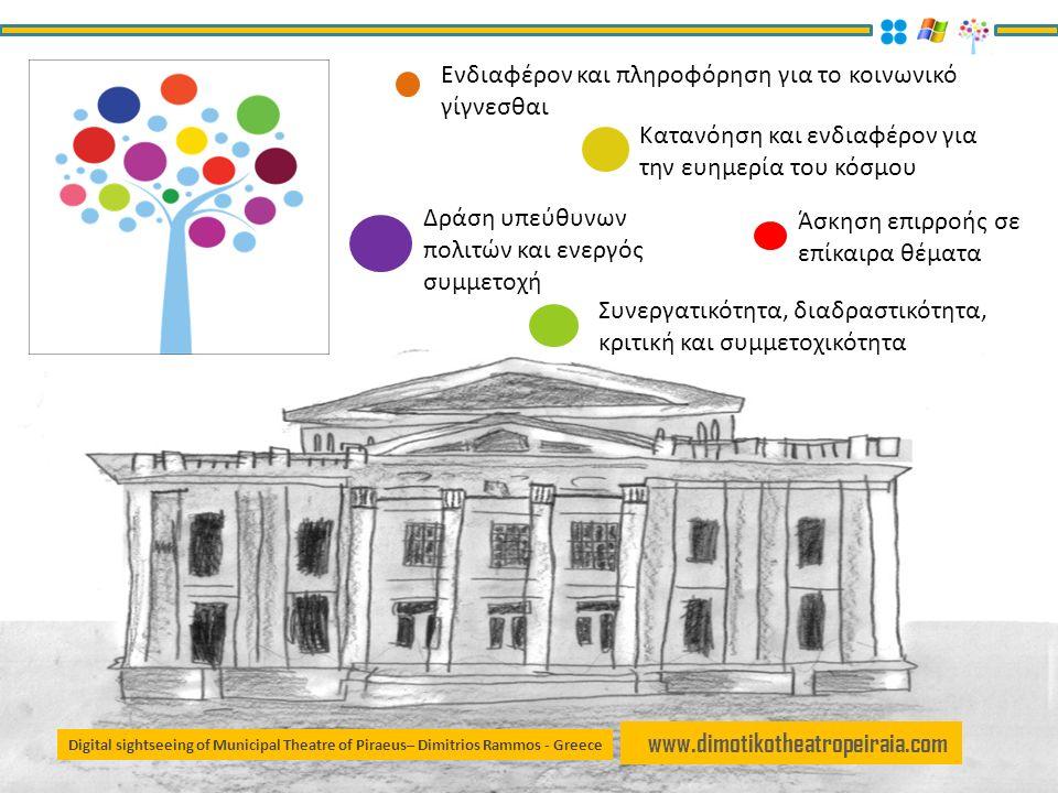 www.dimotikotheatropeiraia.com Ενδιαφέρον και πληροφόρηση για το κοινωνικό γίγνεσθαι Κατανόηση και ενδιαφέρον για την ευημερία του κόσμου Δράση υπεύθυνων πολιτών και ενεργός συμμετοχή Άσκηση επιρροής σε επίκαιρα θέματα Συνεργατικότητα, διαδραστικότητα, κριτική και συμμετοχικότητα Digital sightseeing of Municipal Theatre of Piraeus– Dimitrios Rammos - Greece