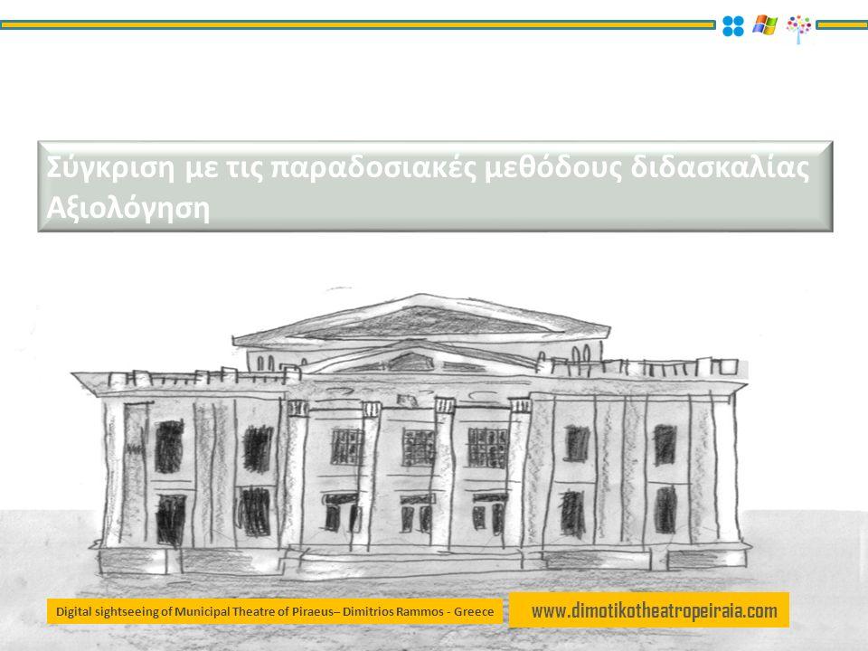 www.dimotikotheatropeiraia.com Σύγκριση με τις παραδοσιακές μεθόδους διδασκαλίας Αξιολόγηση Digital sightseeing of Municipal Theatre of Piraeus– Dimitrios Rammos - Greece