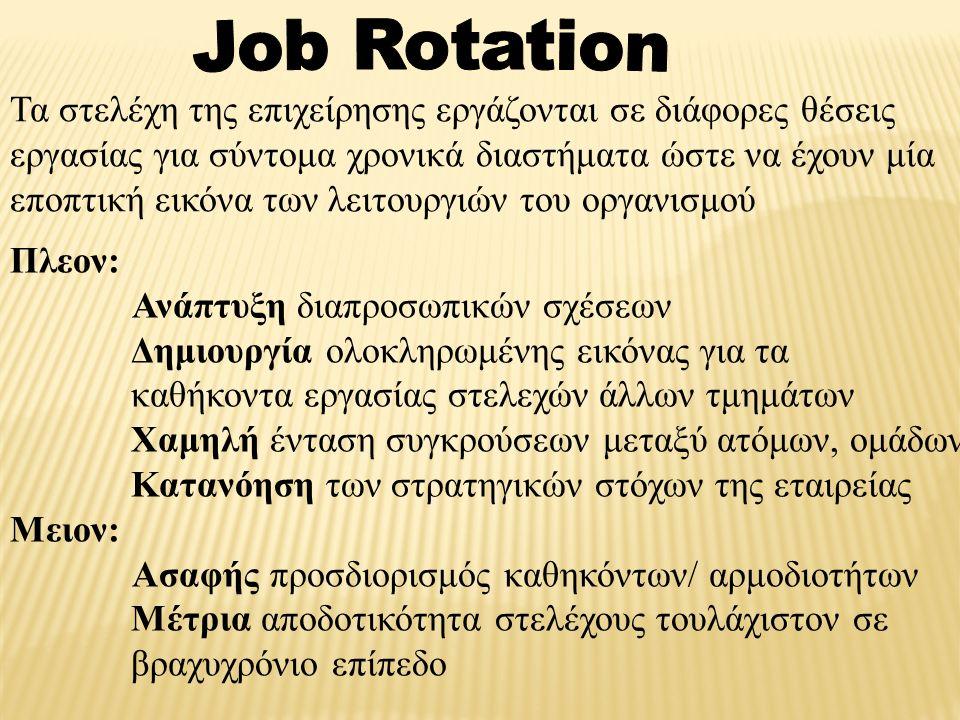 Τα στελέχη της επιχείρησης εργάζονται σε διάφορες θέσεις εργασίας για σύντομα χρονικά διαστήματα ώστε να έχουν μία εποπτική εικόνα των λειτουργιών του οργανισμού Πλεον: Ανάπτυξη διαπροσωπικών σχέσεων Δημιουργία ολοκληρωμένης εικόνας για τα καθήκοντα εργασίας στελεχών άλλων τμημάτων Χαμηλή ένταση συγκρούσεων μεταξύ ατόμων, ομάδων Κατανόηση των στρατηγικών στόχων της εταιρείας Μειον: Ασαφής προσδιορισμός καθηκόντων/ αρμοδιοτήτων Μέτρια αποδοτικότητα στελέχους τουλάχιστον σε βραχυχρόνιο επίπεδο