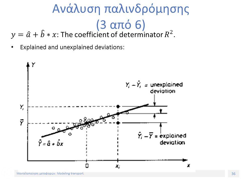 36 Μοντελοποίηση μεταφορών. Modeling transport. Ανάλυση παλινδρόμησης (3 από 6)
