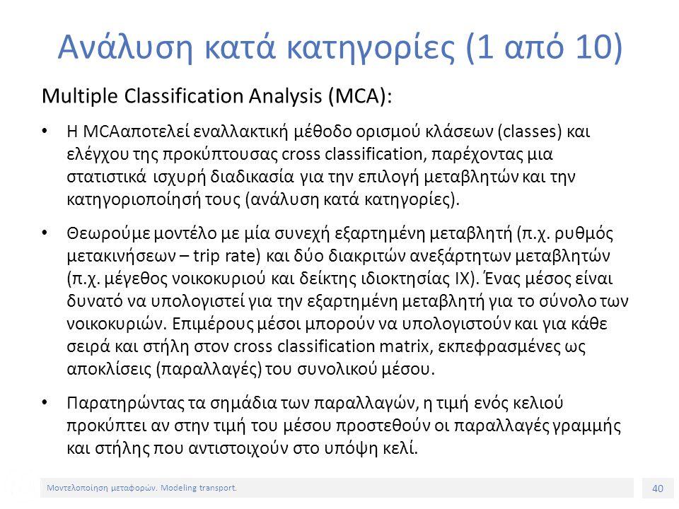 40 Μοντελοποίηση μεταφορών. Modeling transport. Ανάλυση κατά κατηγορίες (1 από 10) Multiple Classification Analysis (MCA): Η MCAαποτελεί εναλλακτική μ