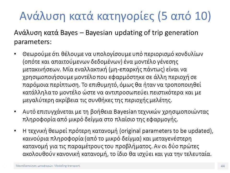 44 Μοντελοποίηση μεταφορών. Modeling transport. Ανάλυση κατά κατηγορίες (5 από 10) Ανάλυση κατά Bayes – Bayesian updating of trip generation parameter